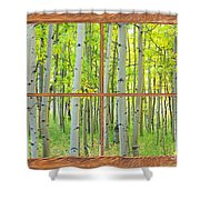 Aspen Tree Forest Autumn Picture Window Frame View  Shower Curtain