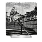 Aspirations In Black And White Shower Curtain