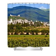 Assisi From The Sunflower Fields Shower Curtain