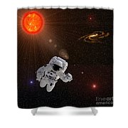 Astronaut And Sun With Stars Shower Curtain