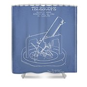 Astronomical Telescope Patent From 1943 - Light Blue Shower Curtain