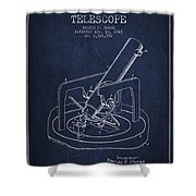 Astronomical Telescope Patent From 1943 - Navy Blue Shower Curtain