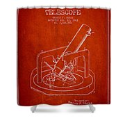 Astronomical Telescope Patent From 1943 - Red Shower Curtain