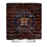 Astros Baseball Graffiti On Brick  Shower Curtain by Movie Poster Prints