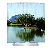 At Fountain Park - View At Red Rock Shower Curtain