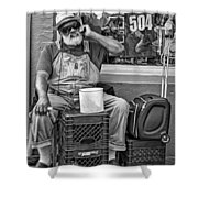 At His Office - Grandpa Elliott Small Bw Shower Curtain