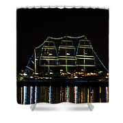 At Night On The  Delaware River - The Mushulu Shower Curtain