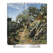 At Noon On A Cactus Plantation In Capri Shower Curtain