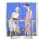 At Polo Shower Curtain by Georges Barbier