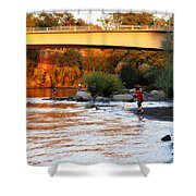 At Rivers Edge Shower Curtain