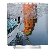 At The Background Of Moscow Kremlin - Featured 3 Shower Curtain