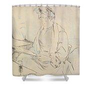 At The Cafe Shower Curtain by Henri de Toulouse-Lautrec