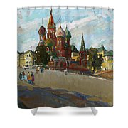 At The Cathedral Of Vasily The Blessed Shower Curtain