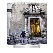 At The Church - Child's Curiosity - Sicily Shower Curtain