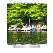 At The Cottage Dock Shower Curtain