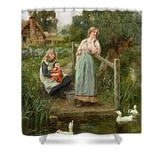 At The Duck Pond Shower Curtain