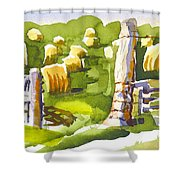At The Farm Baling Hay II Shower Curtain