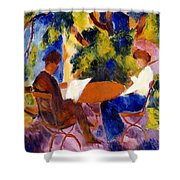 At The Garden Table Shower Curtain by August Macke