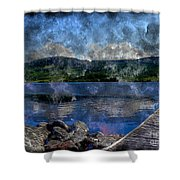 At The Lake - Fishing - Steel Engraving Shower Curtain