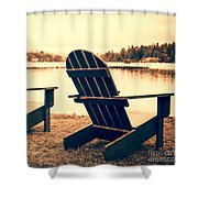 At The Lake Square Format Shower Curtain