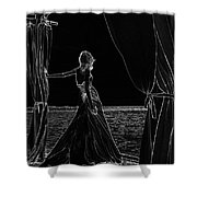 At The Natural Stage. Black Art Shower Curtain by Jenny Rainbow