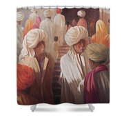 At The Temple Entrance, 2012 Acrylic On Canvas Shower Curtain