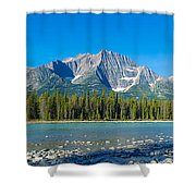 Athabasca River With Mountains Shower Curtain