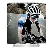 Athletic Male High Speed Cycling Shower Curtain
