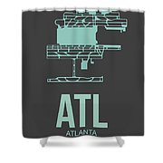 Atl Atlanta Airport Poster 2 Shower Curtain by Naxart Studio