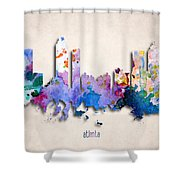 Atlanta Painted City Skyline Shower Curtain