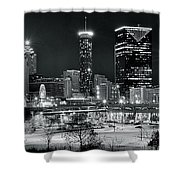 Atlanta Panoramic Black And White Shower Curtain