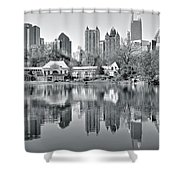 Atlanta Reflecting In Black And White Shower Curtain