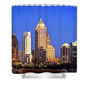 Atlanta Skyline At Dusk Midtown Color Panorama Shower Curtain