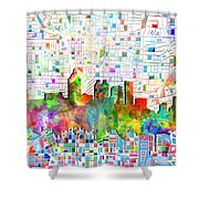 Atlanta Skyline Watercolor 3 Shower Curtain