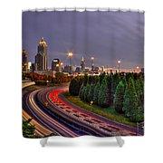 Atlanta Sundown Night Lights Art Shower Curtain