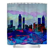 Atlanta Watercolor Skyline Shower Curtain
