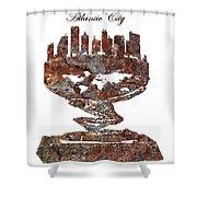 Atlantic City Rusty Skyline Shower Curtain