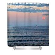 Atlantic Moon Rise Shower Curtain by Barbara McDevitt