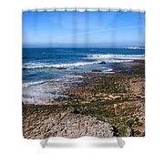 Atlantic Ocean Shore In Estoril Shower Curtain