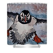 Atlantic Puffin - Set 2 Of 3 Shower Curtain