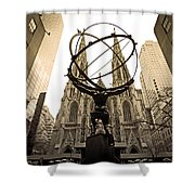 Atlas At Rockefeller Center Back Side Shower Curtain