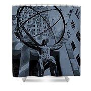 Atlas Rockefeller Center Poster Shower Curtain