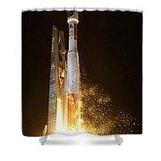 Atlas V Rocket Taking Off Shower Curtain