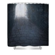 Atmospheric Creepy Arched Tunnel With Cobbled Floor Shower Curtain