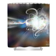 Atom Collision Shower Curtain by Mike Agliolo