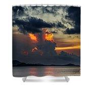 Atomic Sunset Shower Curtain