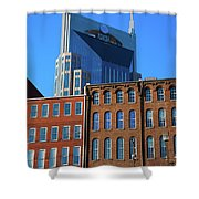 At&t Building And Historic Red Brick Shower Curtain
