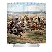 Attack Of The Horse Regiment Shower Curtain by Victor Mazurovsky