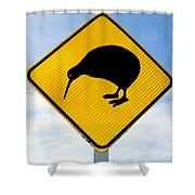 Attention Kiwi Crossing Road Sign Shower Curtain