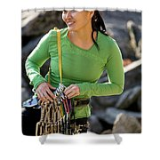 Attractive Female Climber Adjusting Shower Curtain